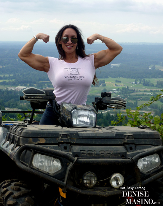Female Bodybuilder loves to ride
